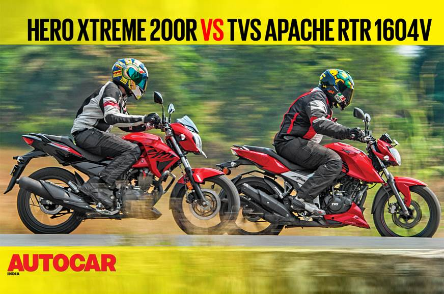 Hero Xtreme 200R vs TVS Apache RTR 160 4V comparison video