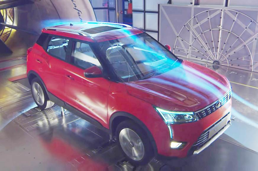 Mahindra's XUV300 undergoing wind tunnel testing.