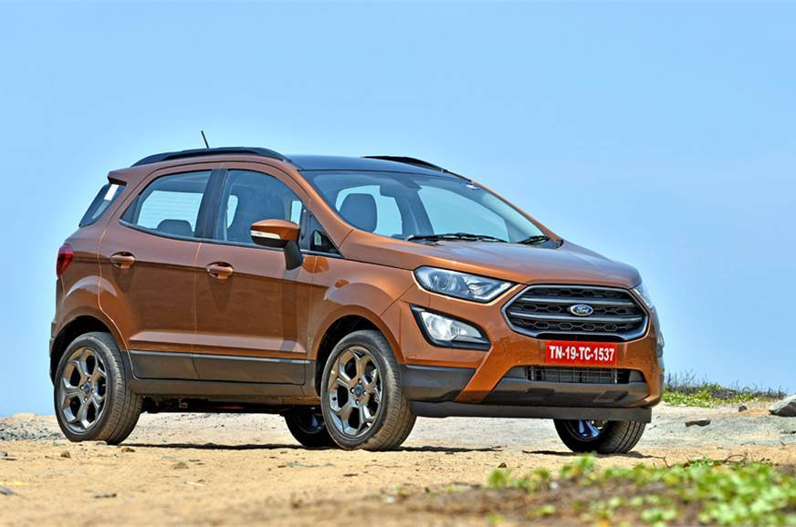 The current Ford EcoSport on sale in India.