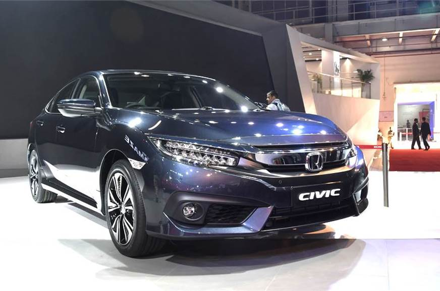 Honda Civic shown at the Auto Expo 2018.