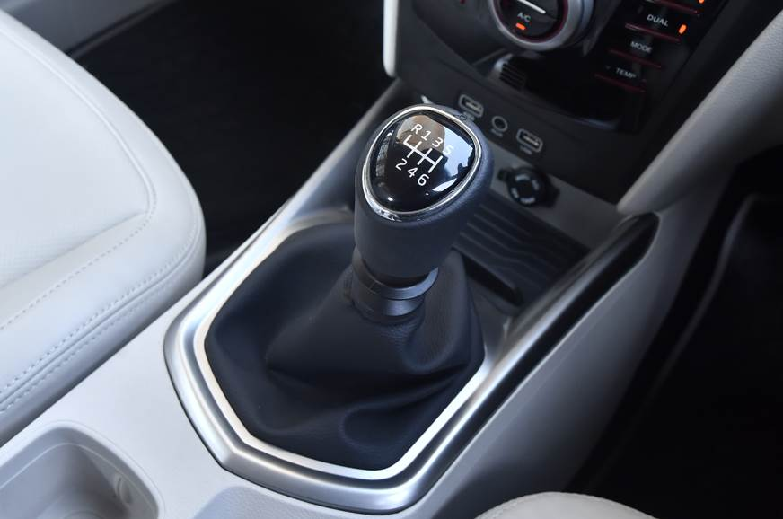 The 6-speed manual on the Mahindra XUV300.