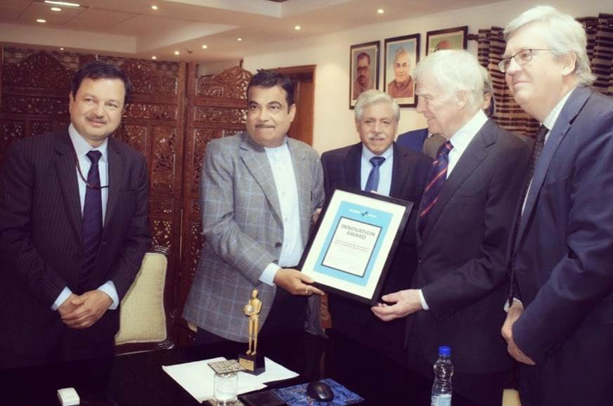 Nitin Gadkari presented with Innovation Award by Global NCAP