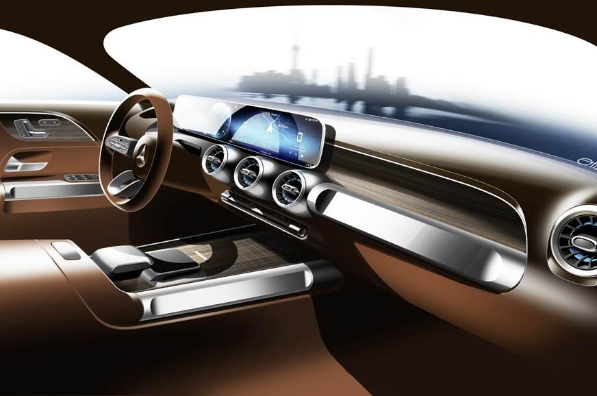 Mercedes GLB concept SUV interior illustration.