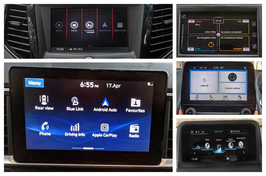 Clockwise from the left bottom: Hyundai Venue, Mahindra XUV300, Maruti Vitara Brezza, Ford EcoSport, Tata Nexon.