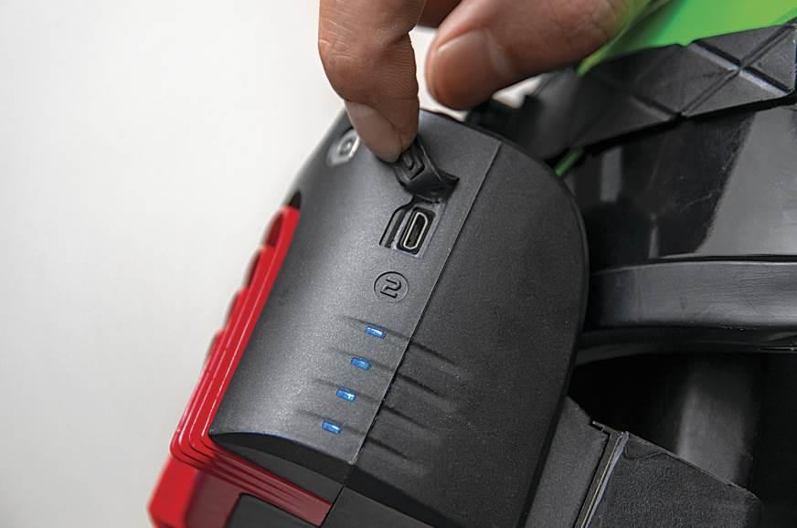 Charges via micro USB.
