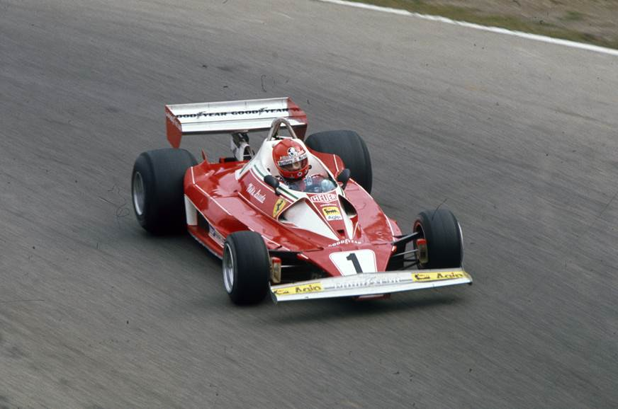 Lauda driving his Ferrari 312T2 at the 1976 Italian GP.