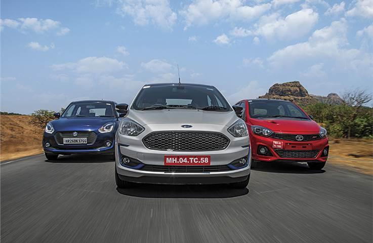 Ford Figo vs Tata Tiago JTP vs Maruti Suzuki Swift compar...