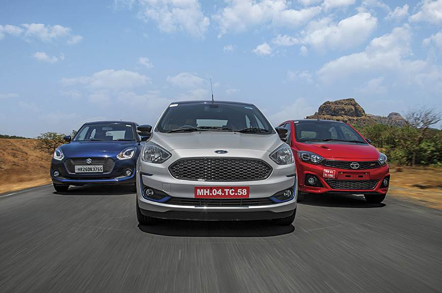 Ford Figo vs Tata Tiago JTP vs Maruti Suzuki Swift compar...