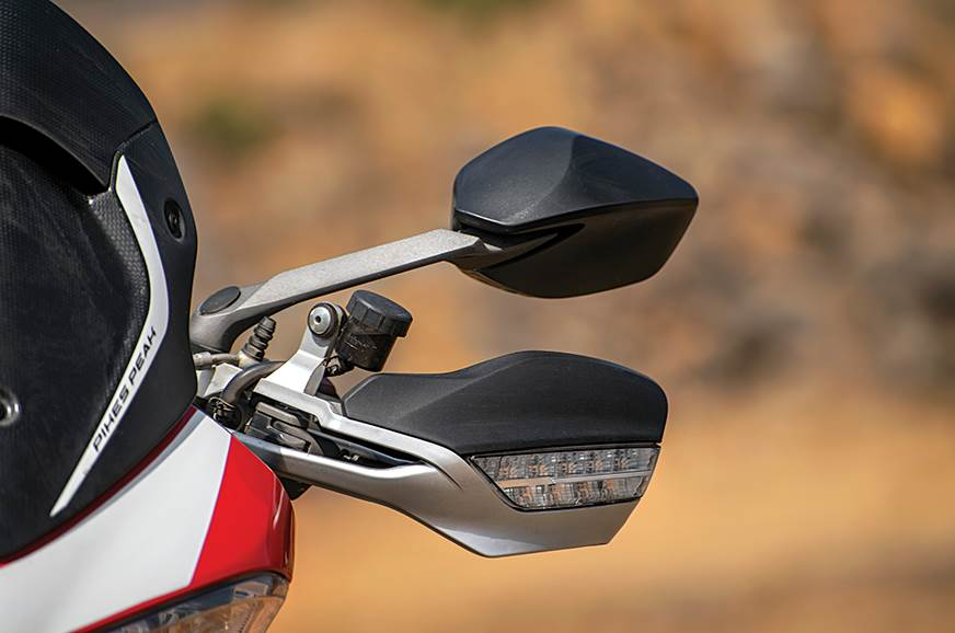 Turn indicators incorporated into the hand guards.