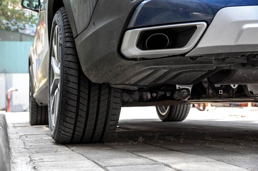 The X5's ultra-wide tyres can feel lumpy over bumps.