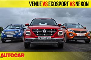 Hyundai Venue vs EcoSport vs Nexon petrol AT video comparison