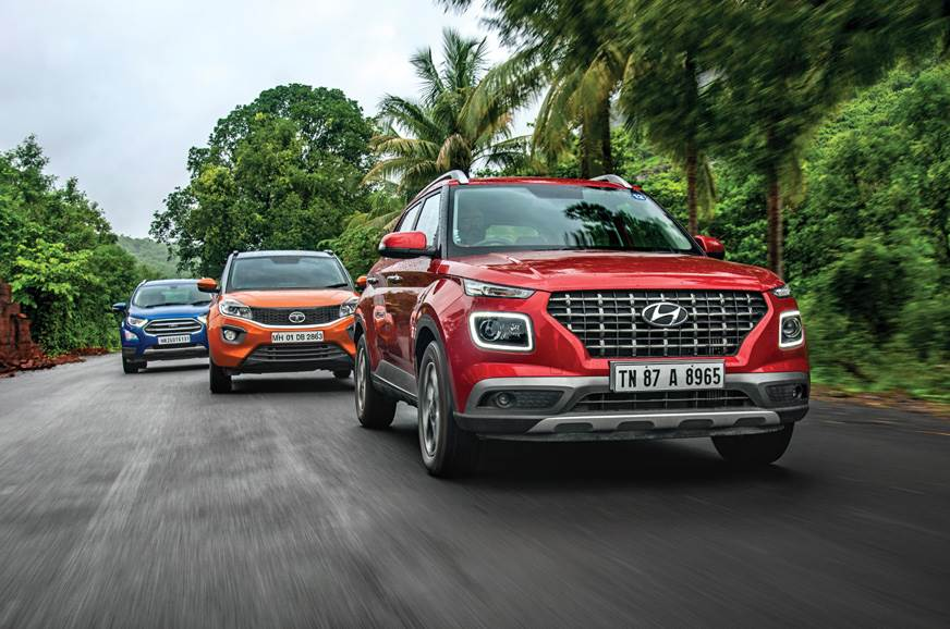 Hyundai Venue vs Ford EcoSport vs Tata Nexon petrol AT co...