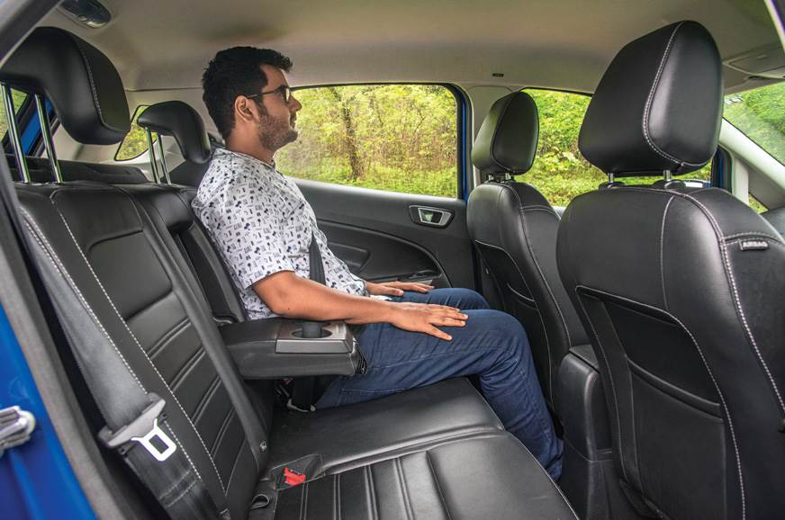 EcoSport rear seat is comfy but legroom is not in abundance.