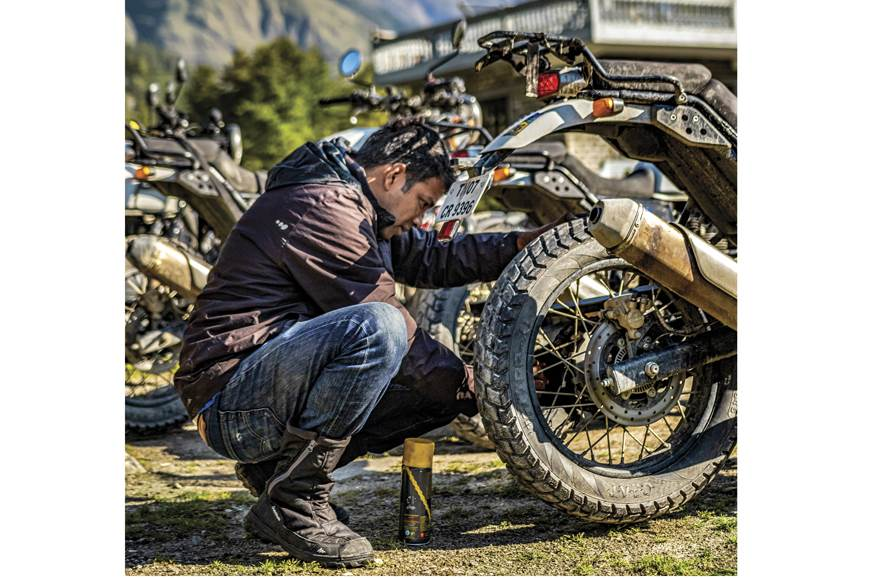 Cleaning and lubing the chain is always easy when there's...