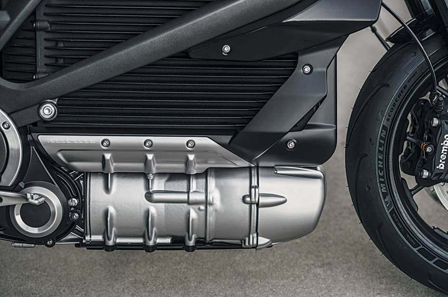 Liquid-cooled motor sits neatly below the battery pack.