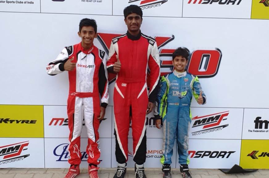 (L-R) JK Tyre National Karting Championship's X30 Class winners - Ruhaan Alva (Junior), Nirmal Umashankar (Senior) and Ishaan Madesh (Cadet)