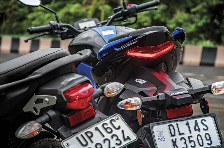 The Gixxer's tail-light is brighter and cleaner looking.