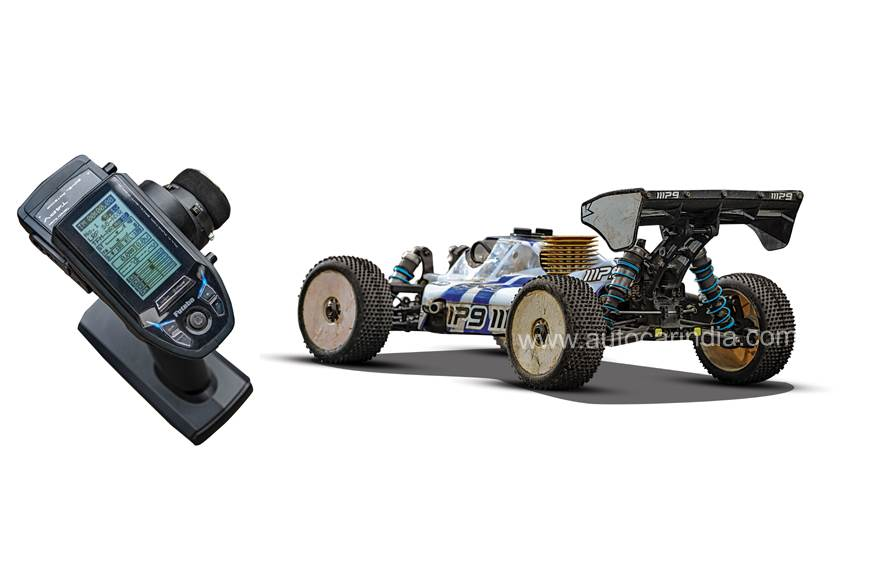 The RC car has a complex controller with multiple sensiti...