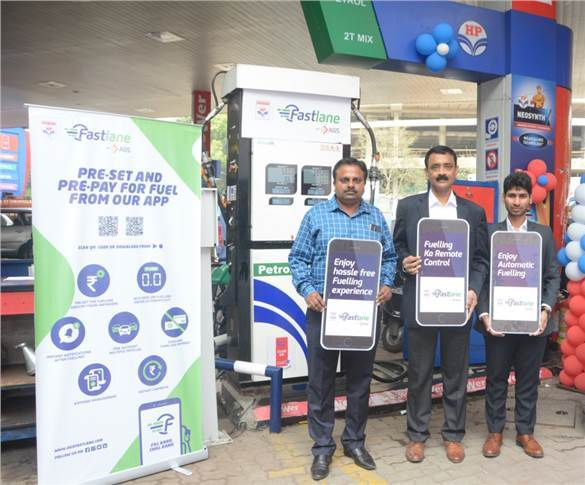 L-R: Manish Agrawal, deputy GM, Pune retail regional office, HPCL; Satish Zope, head - Petroleum Business at AGS Transact Technologies and Mohit Mangal, director and CEO, Euro Cars India.