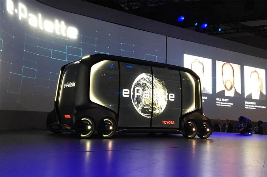 Toyota e-Palette autonomous vehicle concept shown at CES 2018.