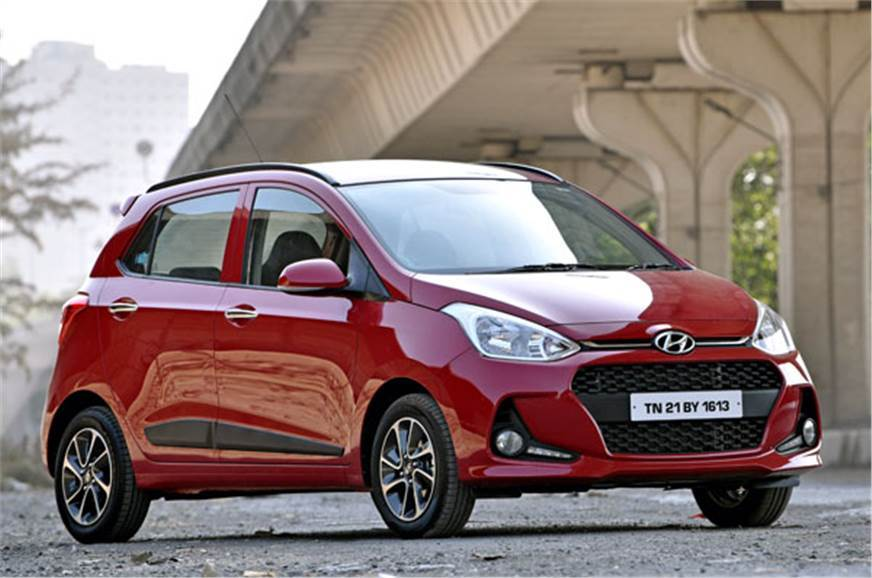 The Hyundai Grand i10 does not get alloy wheels, pictured.