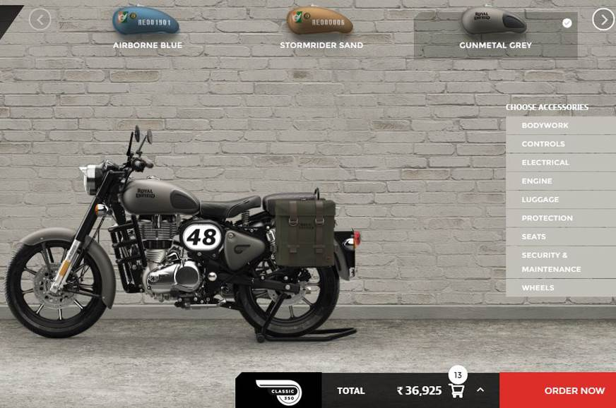 Royal Enfield motorcycle configurator introduced
