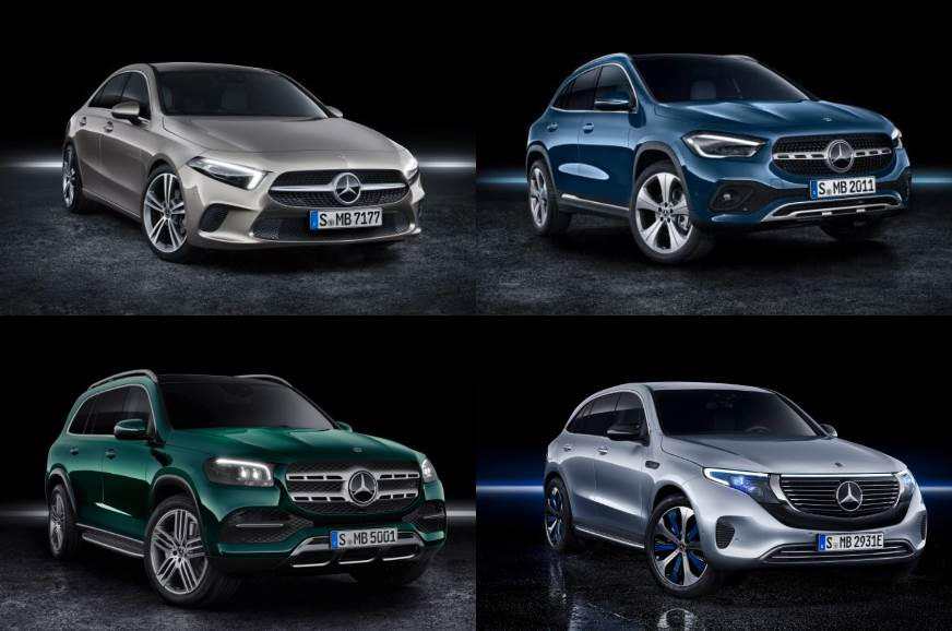 Clockwise, from top-left corner: Mercedes-Benz A-class Limousine, GLA, EQC and GLS.