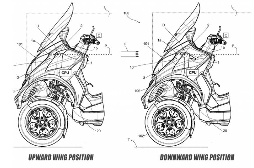 Piaggio patents new active aero wing technology