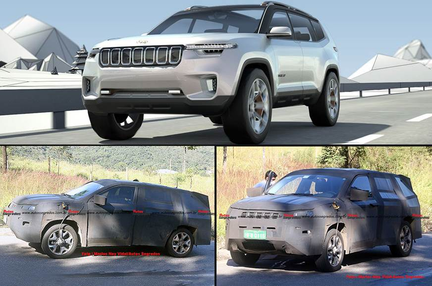 Compass-based 7-seat SUV will get fresh styling inside & out. Top: Jeep Yuntu 7-seat concept (for representation).