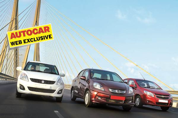 Honda Amaze vs Maruti Swift Dzire vs Chevrolet Sail