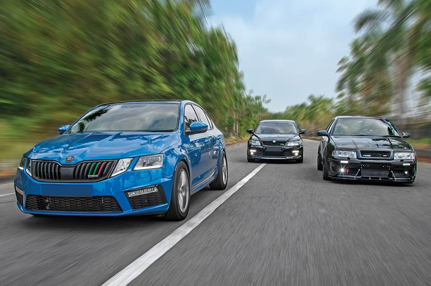 Three generations of modded Skoda vRS driven