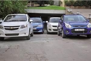 Chevrolet Sail U-VA vs Toyota Liva vs Ford Figo vs Maruti Swift