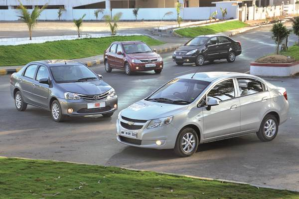 Chevrolet Sail vs Toyota Etios vs Tata Manza vs Mahindra Verito