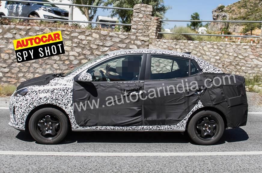 2020 Hyundai Xcent side Autocar India spy shot