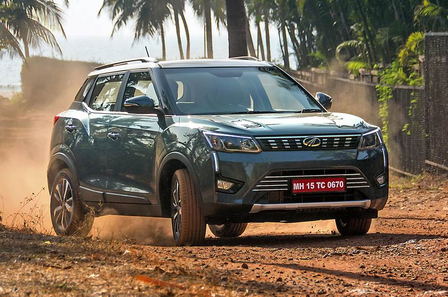 2019 Mahindra XUV300 front action blue