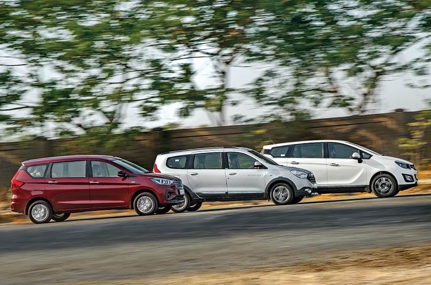 Maruti Suzuki Ertiga vs Renault Lodgy vs Mahindra Marazzo side action