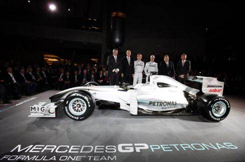 Schumi at Mercedes GP livery unveiling