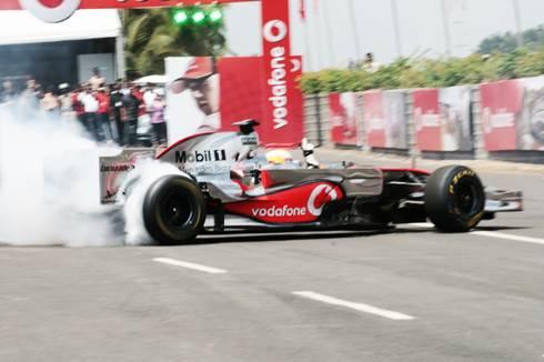 Hamilton drives MP4-23 in Bangalore