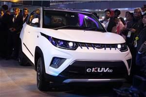 Mahindra eKUV100 EV showcased at Auto Expo