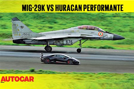 DRAG RACE: Lamborghini Huracán Performante vs Indian Navy MiG-29k video