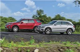 Mercedes GLC300 vs Land Rover Discovery Sport petrol comp...
