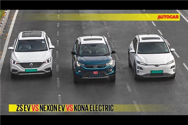 MG ZS EV vs Tata Nexon EV vs Hyundai Kona Electric comparison video