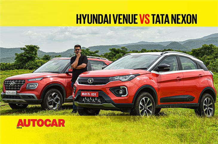 2020 Tata Nexon vs Hyundai Venue petrol comparison video