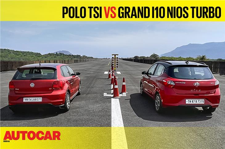 Autocar Drag Day 2021: Volkswagen Polo TSI vs Hyundai Nios Turbo drag race video
