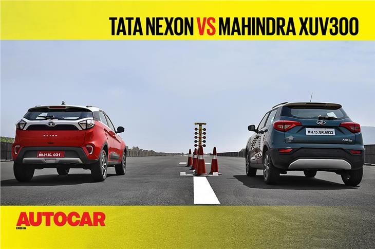 Tata Nexon vs Mahindra XUV300 drag race video