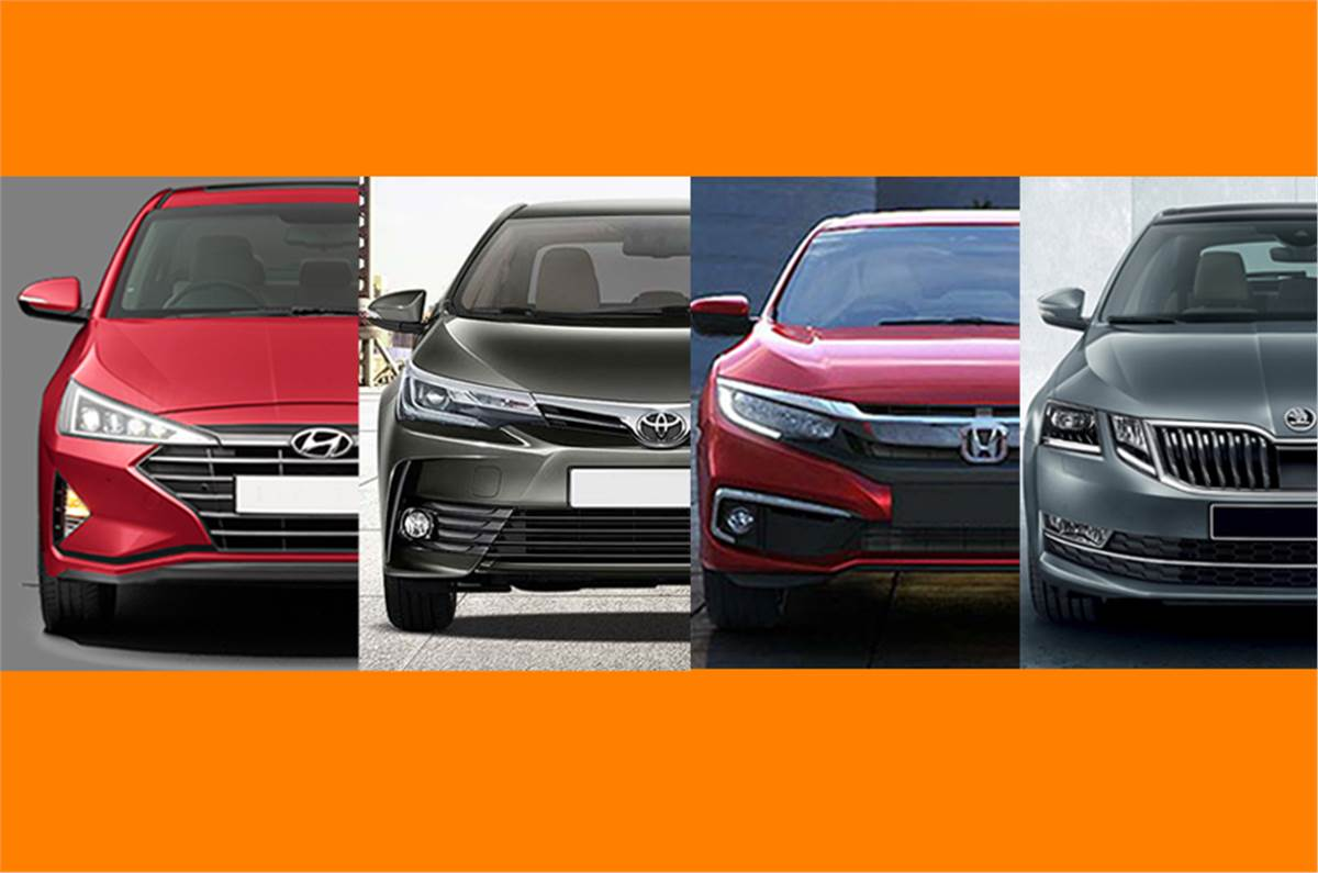 New Hyundai Elantra Vs Honda Civic Vs Skoda Octavia Vs Toyota Corolla Altis Price Specifications Compared Autocar India