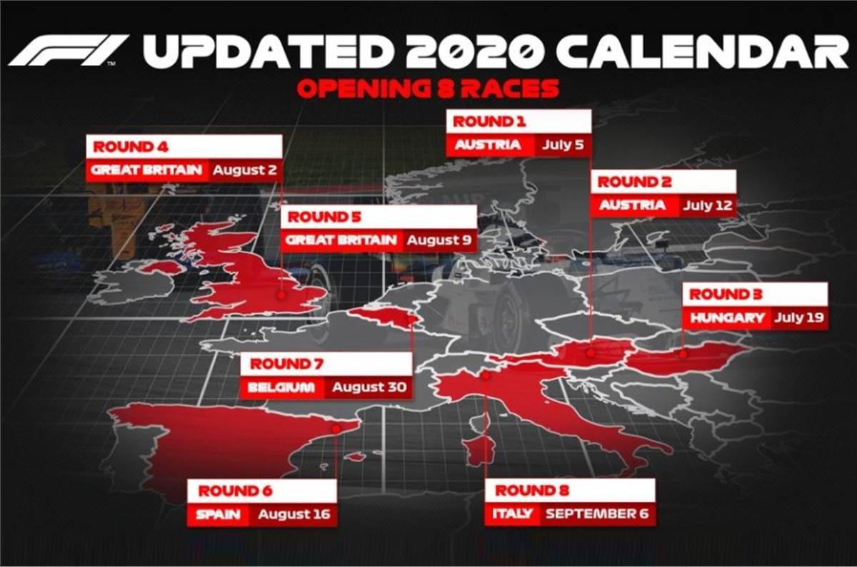 F1 2022 Calendar.First 8 Races Of Revised 2020 F1 Calendar Confirmed Autocar India