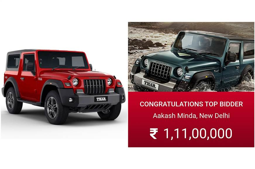 2020 Mahindra Thar #1 auctioned for Rs 1.11 crore