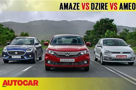 2018 Amaze vs Dzire vs Ameo comparison video