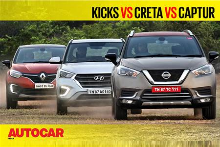 2019 Nissan Kicks vs Hyundai Creta vs Renault Captur comparison video
